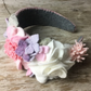 pink tweed and felt flowers hairband