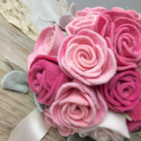 bridesmaids medium pink rose posey in hand dyed felt