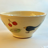 Blackbird and cherries cereal bowl