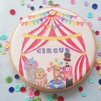 Circus Tent Theme 8inch Embroidery Hoop