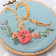 "4"" Custom Inital Letter Floral Embroidery Hoop, home decor, personalised, gift"
