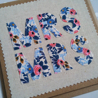 Mrs & Mrs Wedding Card, Anniversary Card, Textile Card