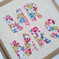 Mr and Mrs Card, Wedding Card, Anniversary Card, Textile Card