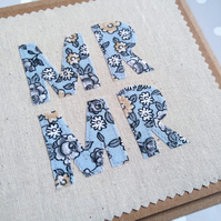 Mr and Mr Wedding Card, Anniversary Card, Textile Card