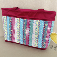 Handmade bag, jelly roll. Pinks, blues, greens.