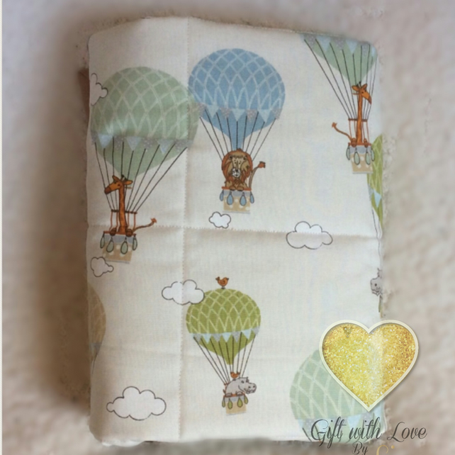 Handmade cot quilt. Zoo animals, hot air balloon. Nursery, new baby