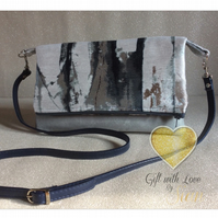 Handmade bag. Cross body. Blues, silvers, greys.