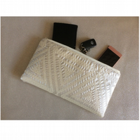 Handmade clutch in pale gold. Fully lined. Evening, wedding, party.