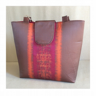 Handmade tote bag, fully lined, pink, orange. Made in Scotland.