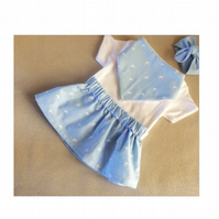 Handmade skirt and bandana set. 0-3 months. Blue chambray. Made in Scotland.