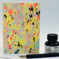 Multicolour marbled note card non pareil in bright colours