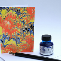 Unique hand marbled art greeting card bouquet pattern in bright colours