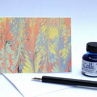 Unusual multicoloured marbled greeting card feather pattern