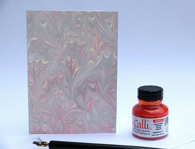 Unique pastel multicoloured marbled art greeting card frog foot pattern