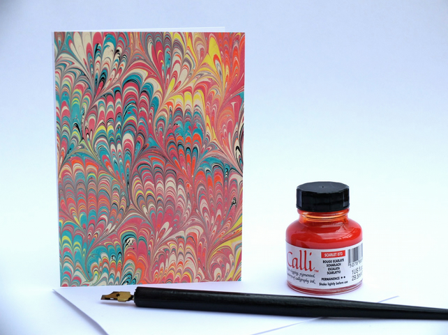 Unique multicoloured marbled art bouquet pattern note card