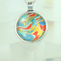 Unique marbled artwork cabochon pendant