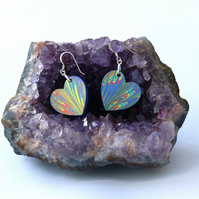 Multicoloured marbled paper heart earrings sterling silver findings