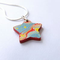 Fun marbled paper star pendant