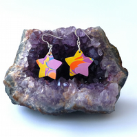 Funky marbled paper star earrings sterling silver findings