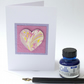 Beautiful marbled paper heart greetings card anniversary valentines