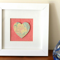 Marbled paper heart framed picture anniversary wedding new house gift