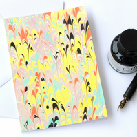 Multicolour marbled art greeting card non pareil in bright colours