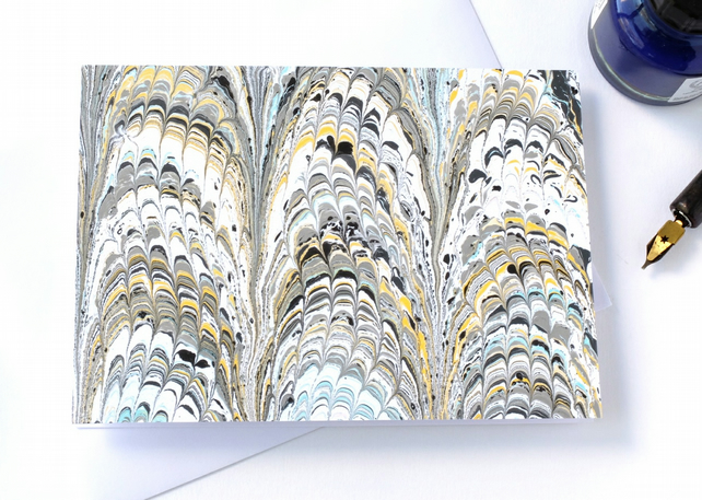 Unusual marbled paper art greetings card pattern non-pareil pattern