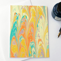 Bold marbled paper art greetings card non-pareil pattern