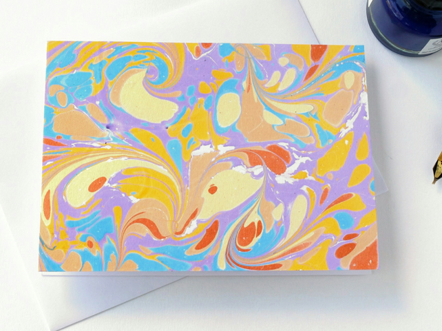 Lovely marbled paper art greetings card pattern metallic drawn stone pattern