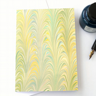 Pastel marbled paper art greetings card fern palm pattern