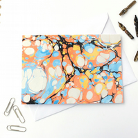 Unusual marbled paper art greetings card metallic stone pattern