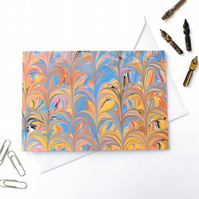 Unusual marbled paper art greetings card cabled cathedral pattern