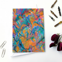 Beautiful marbled paper art greetings card metallic double marble pattern