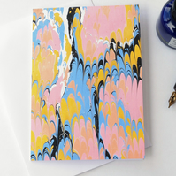 Eye-catching marbled paper art greetings card note card non-pareil pattern