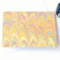 Unusual marbled paper art greetings card note card double non-pareil pattern