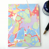 Pastel marbled paper art greetings card note card stone pattern