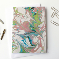 Unique marbled paper art greetings card metallic drawn stone pattern