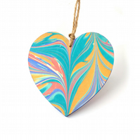 Marbled paper heart hanging decoration valentines wedding anniversary