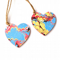 Marbled paper hanging heart gift tag present hang pair