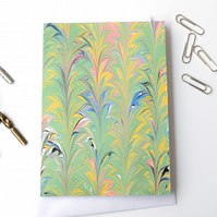 Unusual marbled paper art greetings card Palm fern pattern