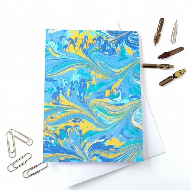 Unusual marbled paper art greetings card bird wing angels wing pattern