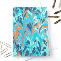 Unique marbled paper art greetings card metallic non pareil pattern