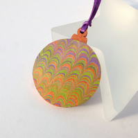 Marbled paper Christmas bauble hanging decoration ornament