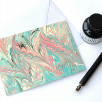Waved gothic pattern marbled art greeting card