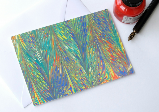 Beautiful multicoloured marbled paper art greetings card feather pattern