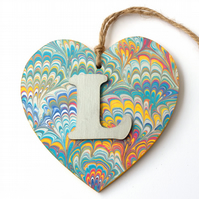 Marbled paper heart door hanger ready to personalise