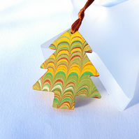 Marbled paper Christmas tree hanging decoration ornament