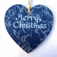 Marbled paper heart hanging Christmas decoration