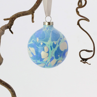 Unique marbled ceramic Christmas bauble decoration ooak