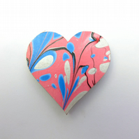 Fun marbled paper heart fridge magnet